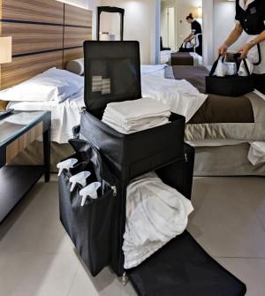 Hotel housekeeping trolley