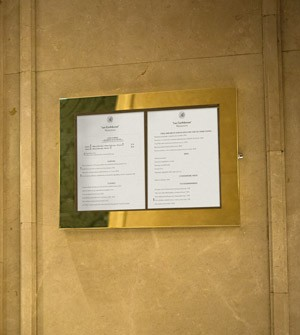 Menu display in steel or brass