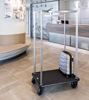Steel hotel luggage trolley
