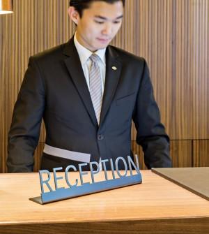 Reception desk sign