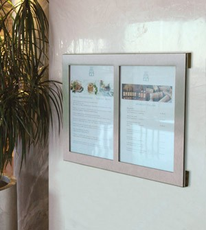 Wall mounted restaurant menu display