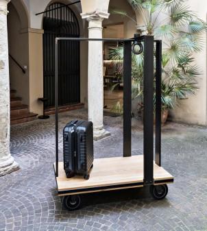 Vintage hotel luggage car with solid oak shelf