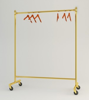 Rolling clothes rack in metal