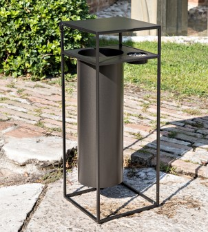 Paper bin with iron ashtray for outdoor use