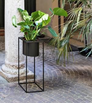 Designer vase container in painted iron