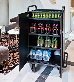 Mini bar trolley for re-stocking minibars on floors