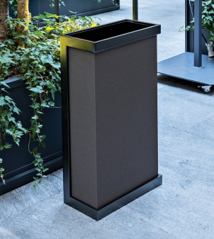 Waste bin design in metal covered in fabric