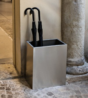 Bin/umbrella holder in brushed steel available in 2 versions