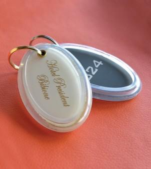 Hotel room key tags in coloured plexiglass