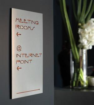 Hotel door number signs in brass or Plexiglass