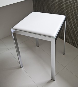 Bathroom stool with seat in imitation leather