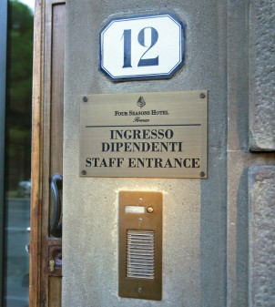 Staff sign for external use with engraved lettering