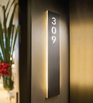 Internally illuminated signs in metal or Plexiglass with led