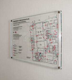 Security signs in crystal glass