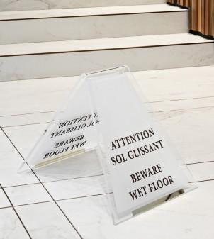 Custom wet floor signs in transparent Plexiglass