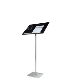 Menu stand for restaurants with display panel