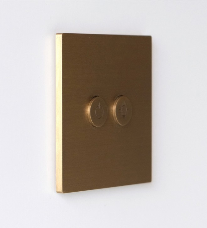 Brass electric plates with round buttons