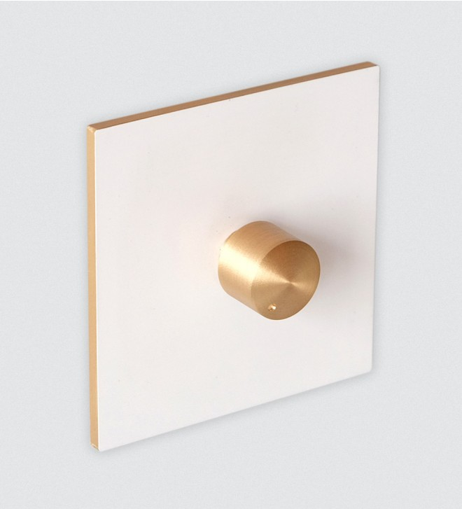 White switch plate with dimmer