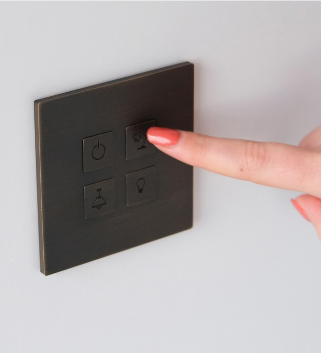 Designer switch plates with buttons