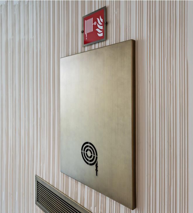 Fire extinguisher door