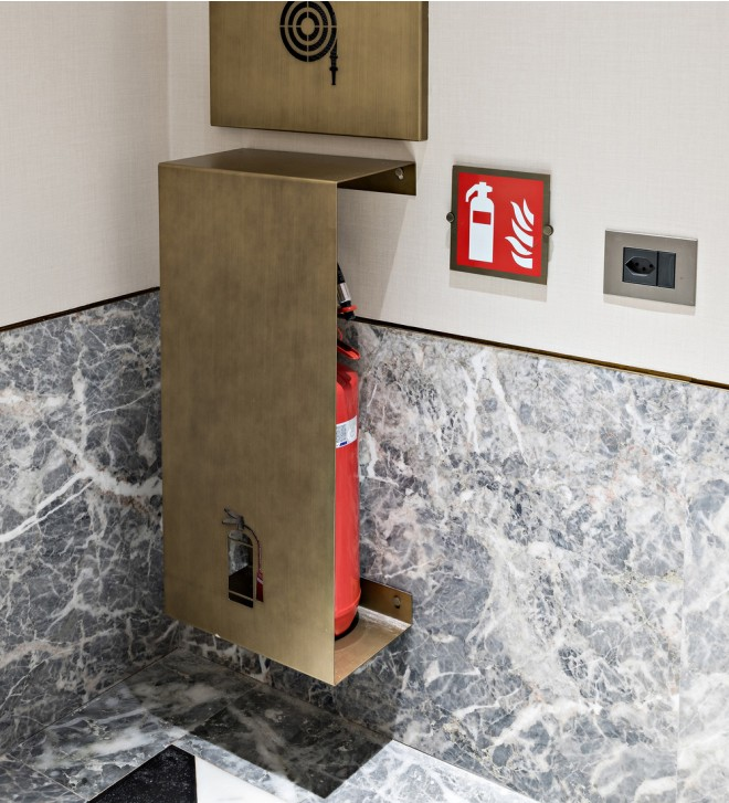 Wall fire extinguisher support