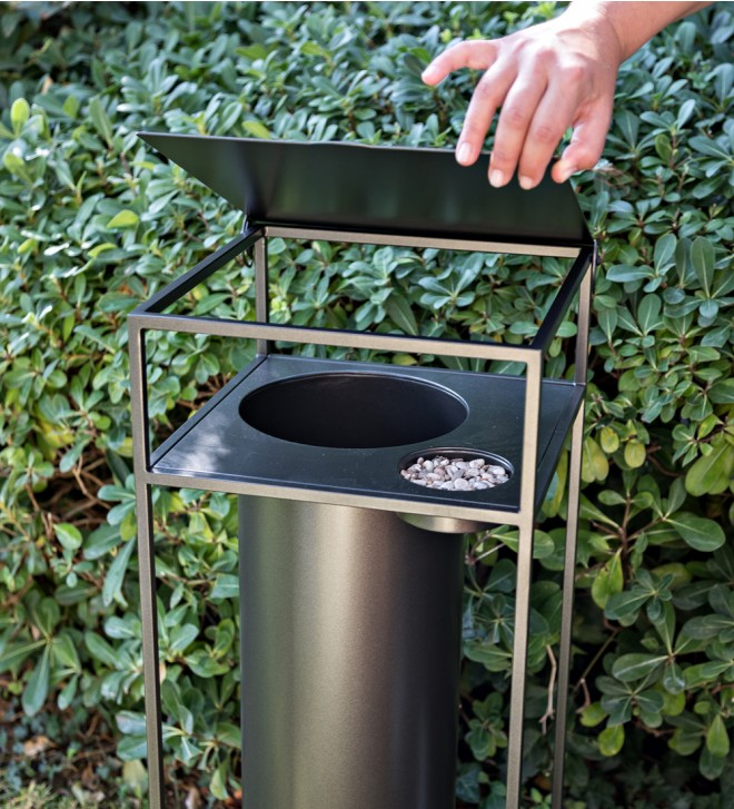 Paper bin with ashtray