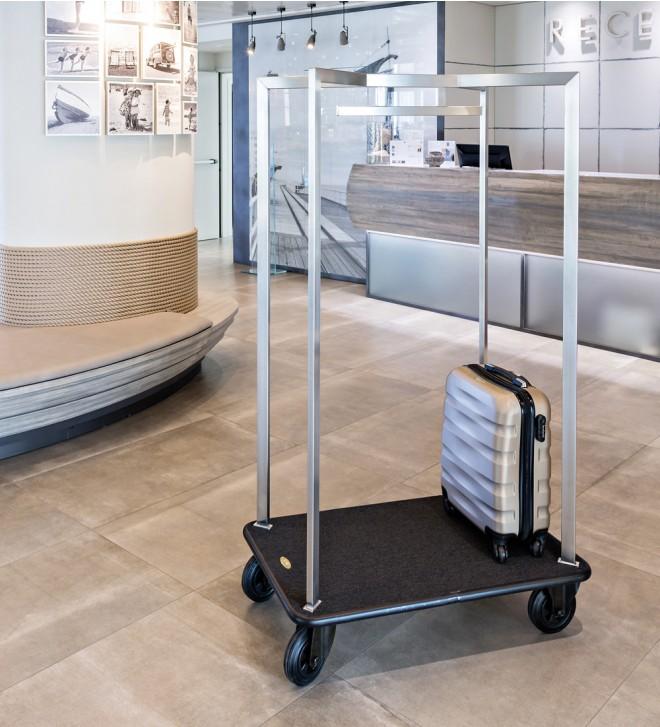 Steel hotel luggage trolley